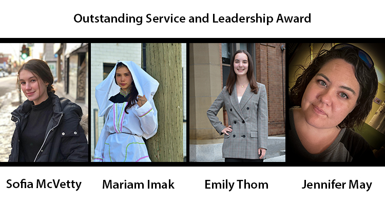 John Abbott College Outstanding Service and Leadership Award recipients. From left to right: Sofia McVetty, Mariam Imak, Emily Thom and Jennifer May